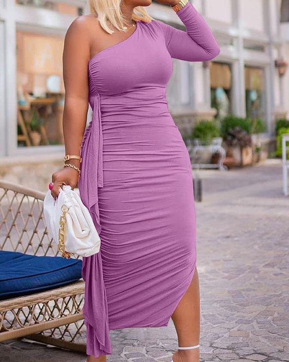 Solid Ruched Split Hem Ruffle Trim One Shoulder Maxi Dress gallery 14