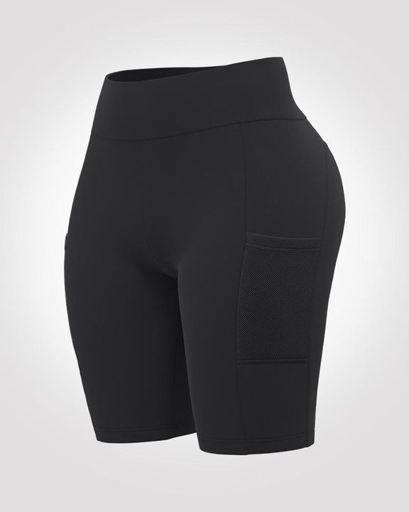 Solid Seamless High Waist Pocket Decor Sports Shorts  gallery 2