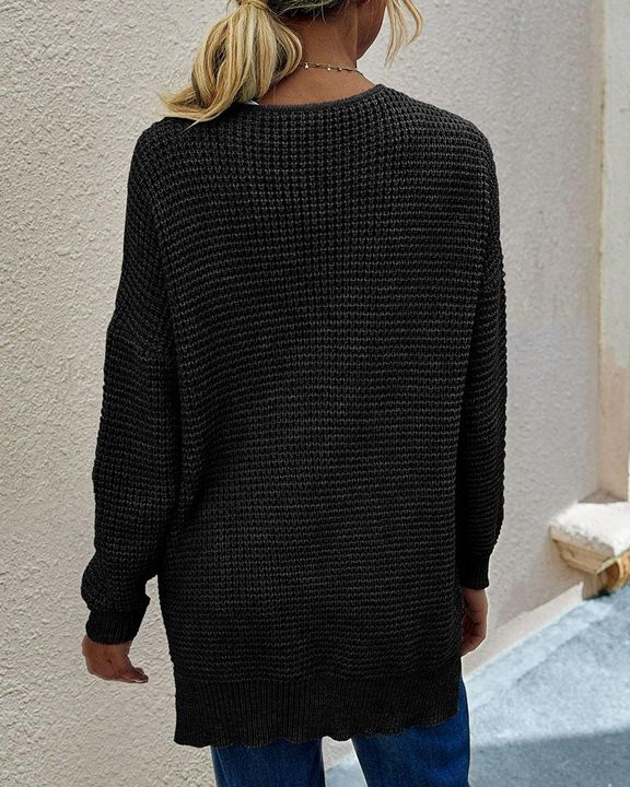Solid Waffle Dual Pocket Front Cardigan gallery 5