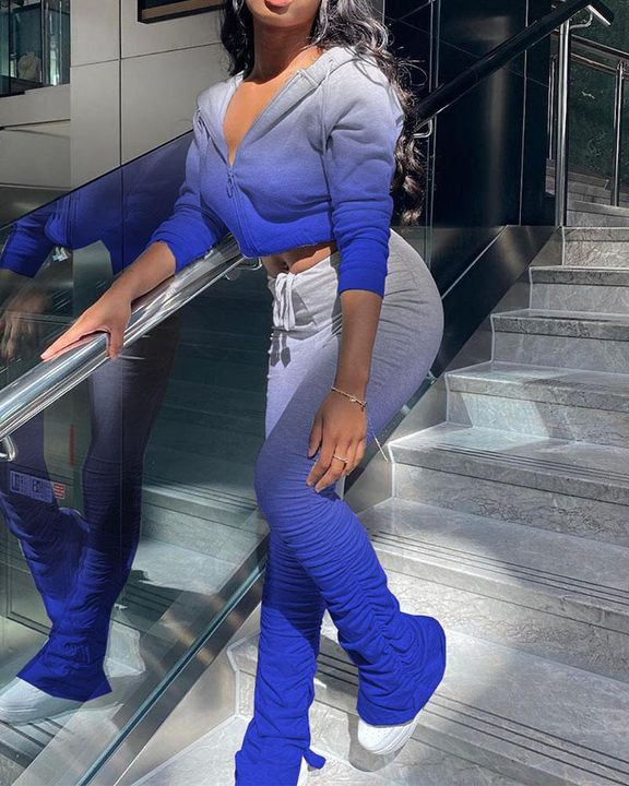 Ombre Ruched Split Hem Hooded Jacket & Pants Set gallery 4