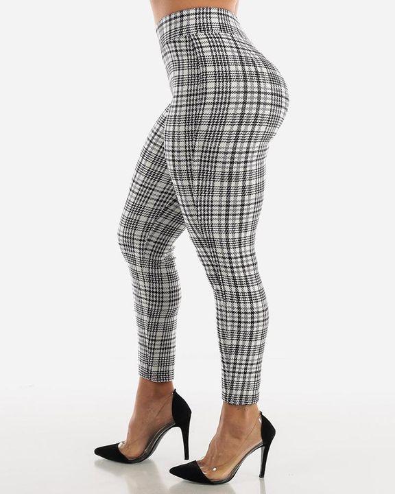 Plaid Print Wrap Waist Skinny Pants gallery 13