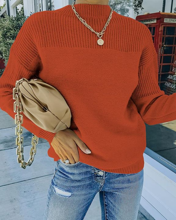 Solid Rib-Knit Round Neck Sweater gallery 7