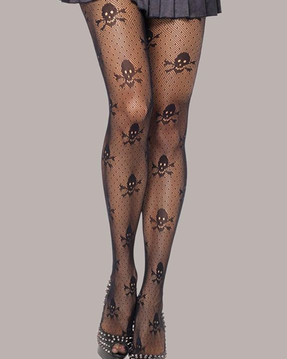 Skeleton Pattern Crotchless Stockings Without Panty gallery 1