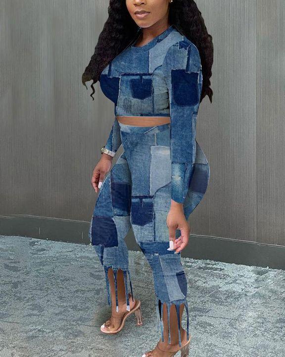 Denim Look Spliced Fringe Trim Long Sleeve Crop Top & Shorts Set gallery 4