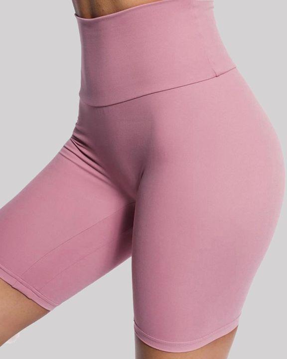Solid High Waist Butt Lifting Sports Shorts gallery 14