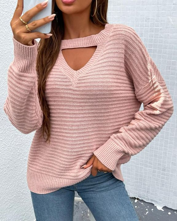 Keyhole Neck Drop Bishop Sleeve Sweater gallery 2