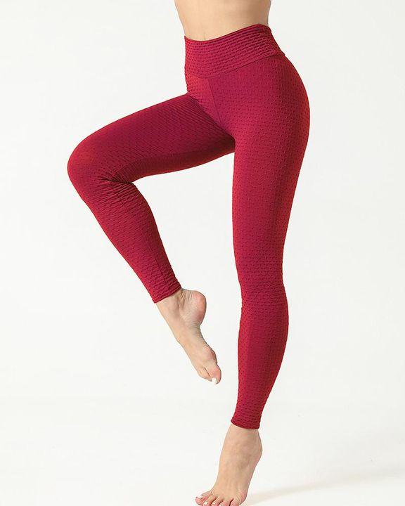 Solid Textured Scrunch Butt Absorbs Sweat Hip Lift Sports Leggings gallery 10