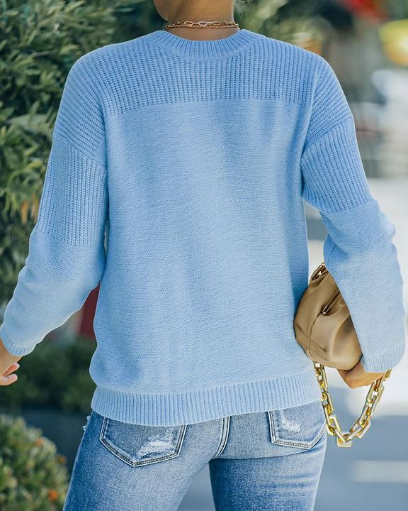 Solid Rib-Knit Round Neck Sweater gallery 4