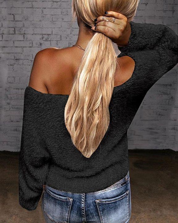 Popcorn Knit Off Shoulder Drop Shoulder Sweater gallery 7