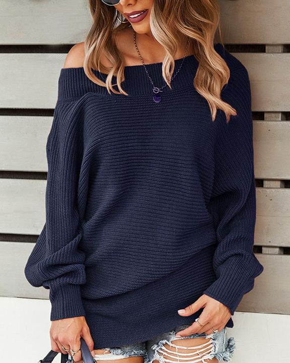Solid Ribbed Knit Boat Neck Sweater gallery 5
