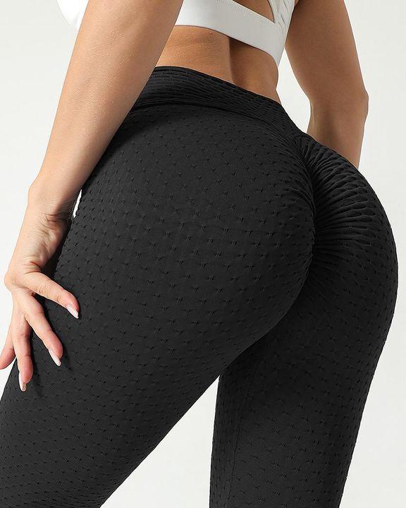 Solid Textured Scrunch Butt Absorbs Sweat Hip Lift Sports Leggings gallery 1