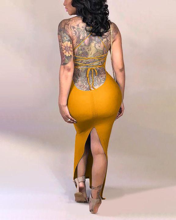 Split Thigh Criss Cross Lace Up Maxi Dress gallery 7