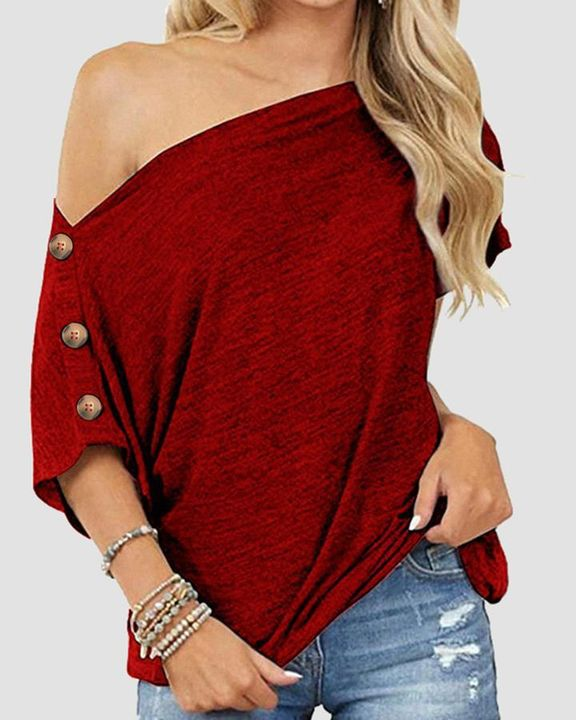 Solid Button Side Off Shoulder Top gallery 1