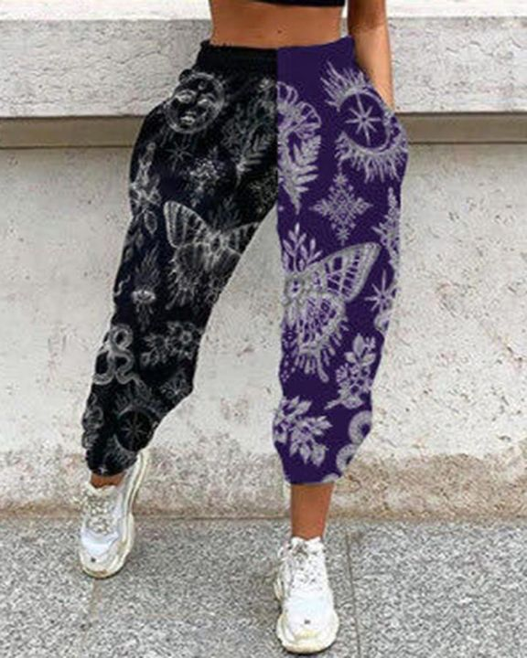 Colorblock & Graphic Print Slant Pocket Sports Pants gallery 3