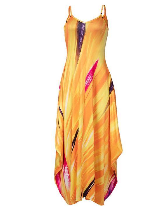 Allover Print Draped Asymmetrical Hem Cami Maxi Dress gallery 4