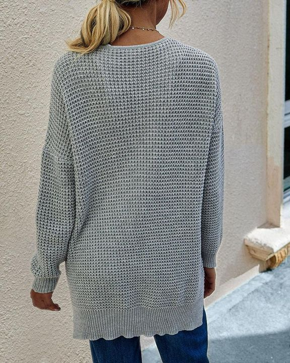 Solid Waffle Dual Pocket Front Cardigan gallery 8
