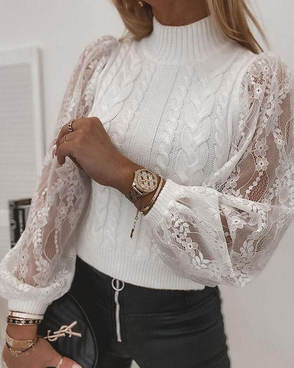 Floral Lace Trim Cable Knit Stand Collar Sweater gallery 1