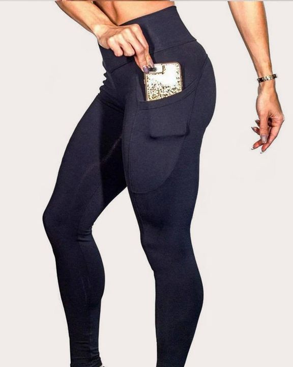 Solid Side Pocket Butt-Lifting Sports Leggings gallery 1