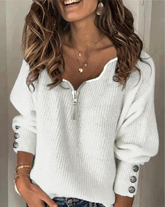 Half-Zip Ribbed Knit Button Decor Sweater  gallery 3