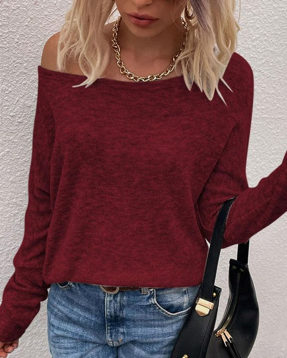 Solid Long Sleeve Boat Neck Top gallery 8