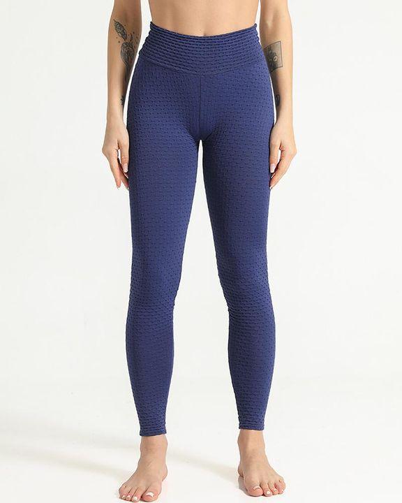 Solid Textured Scrunch Butt Absorbs Sweat Hip Lift Sports Leggings gallery 15