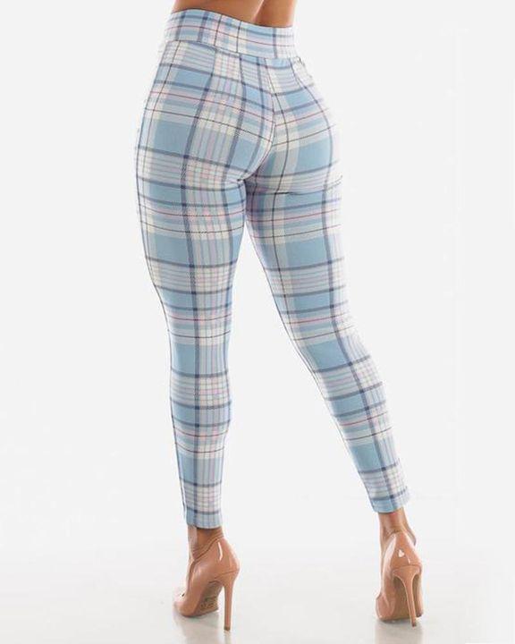Plaid Print Wrap Waist Skinny Pants gallery 7