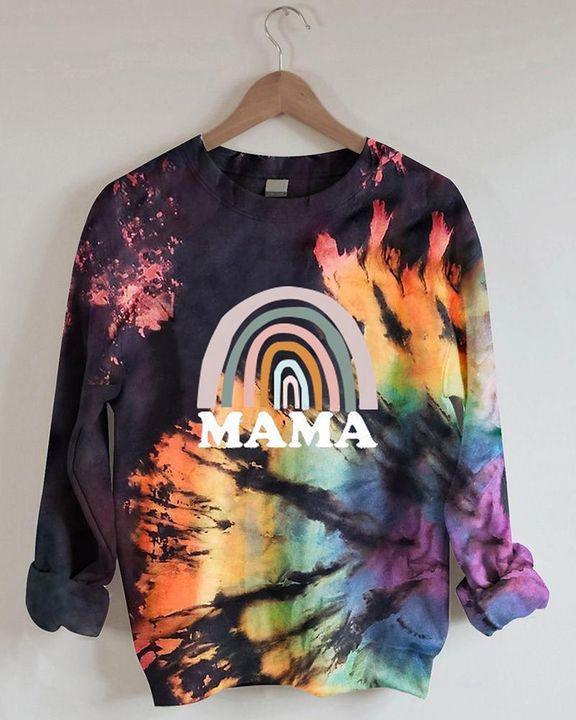 Tie Dye Letter Print Long Sleeve Round Neck Sweatshirt gallery 4