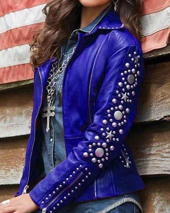 PU Leather Studded Zip Up Wrap Moto Jacket gallery 4