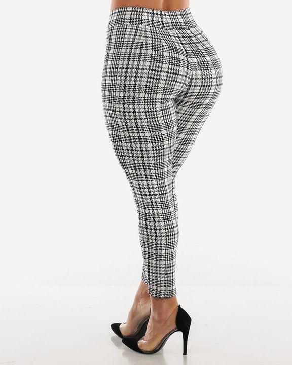 Plaid Print Wrap Waist Skinny Pants gallery 14