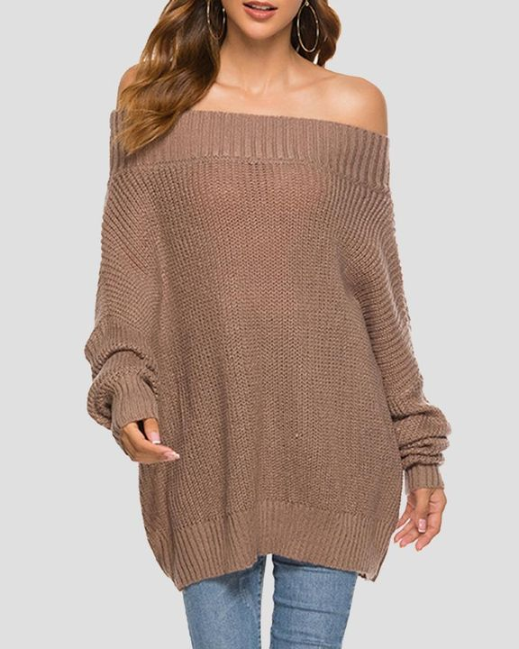 Chunky Knit Boat Neck Batwing Sleeve Sweater gallery 6