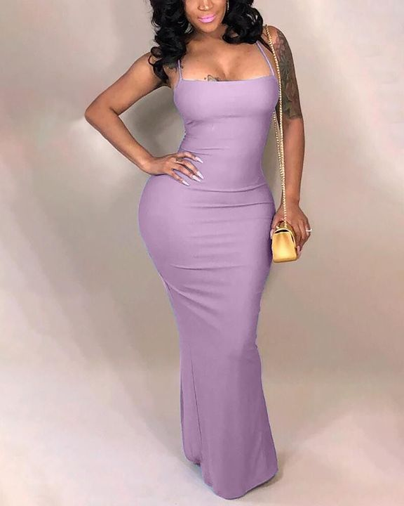 Split Thigh Criss Cross Lace Up Maxi Dress gallery 4