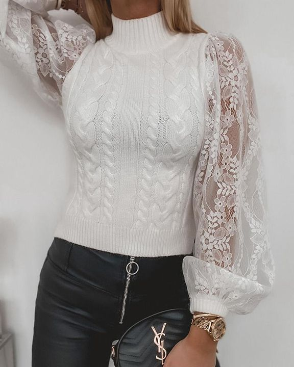 Floral Lace Trim Cable Knit Stand Collar Sweater gallery 2