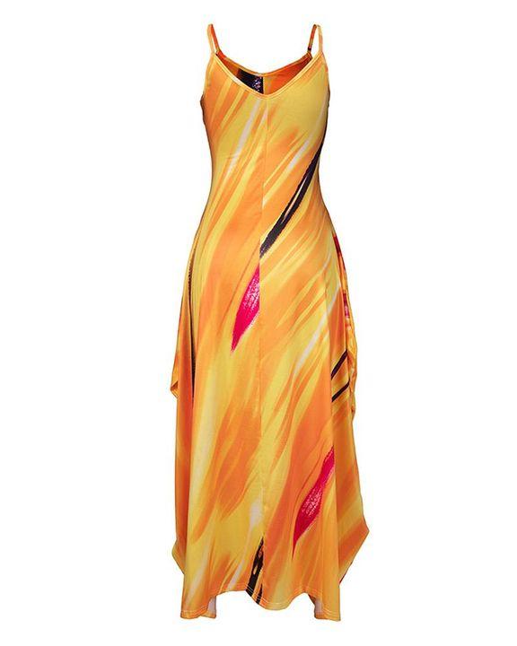 Allover Print Draped Asymmetrical Hem Cami Maxi Dress gallery 5