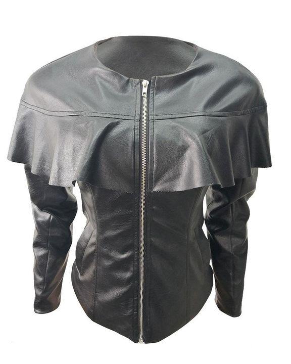 PU Leather Ruffle Trim Zip Front Slant Pocket Jacket gallery 4