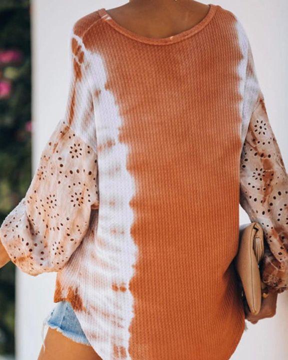 Tie Dye & Halloween Print Curved Hem Sweater  gallery 3
