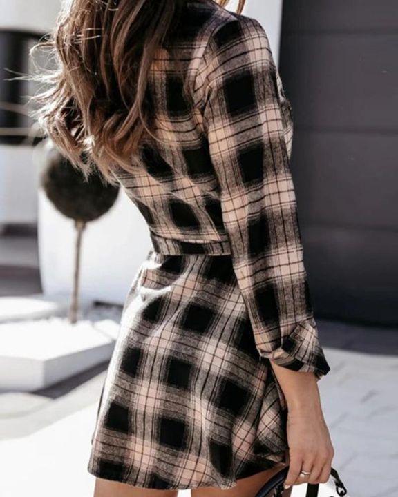 Plaid Print Button Up Self-Tie Mini Shirt Dress gallery 4