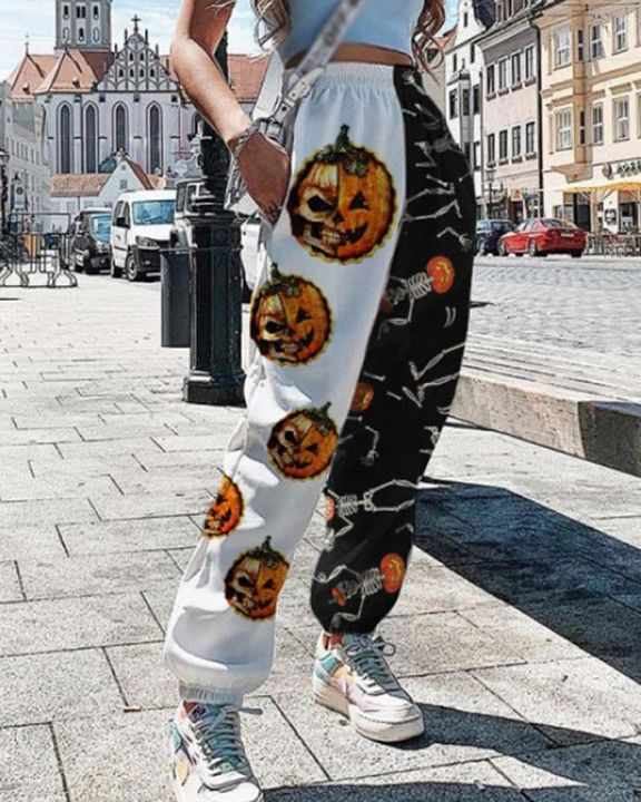 Colorblock & Halloween Graphic Pattern Pocket Side Joggers gallery 4