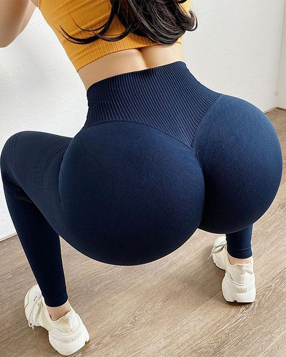 Hollow Out Wide Waistband Seamless Butt Lifting Sports Leggings gallery 3