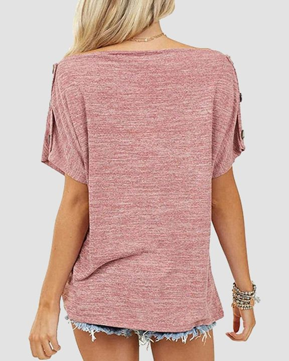 Solid Button Side Off Shoulder Top gallery 6
