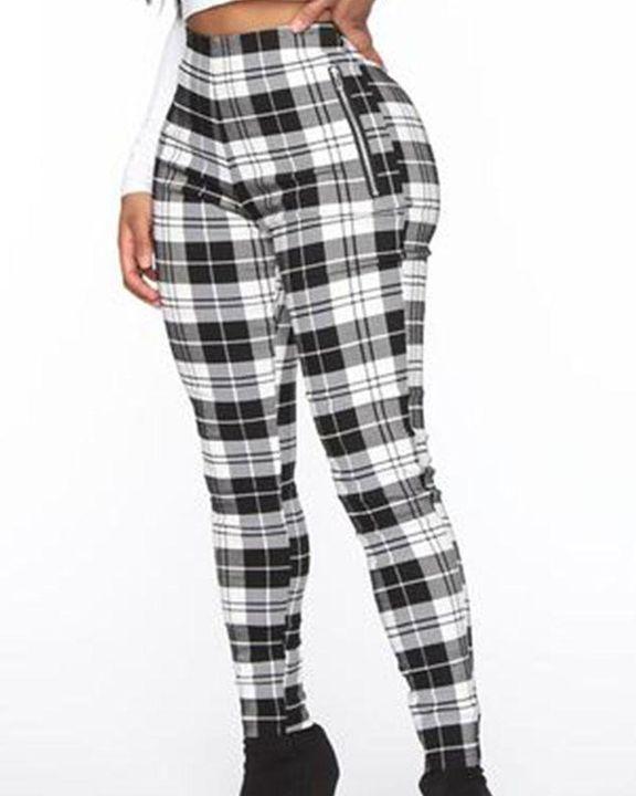 Plaid Print Zip-Pocket Side High Waist Pants gallery 3