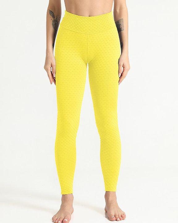 Solid Textured Scrunch Butt Absorbs Sweat Hip Lift Sports Leggings gallery 13