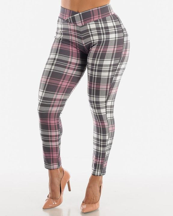 Plaid Print Wrap Waist Skinny Pants gallery 2