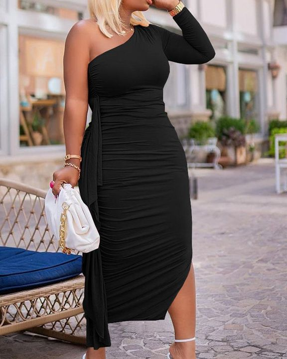 Solid Ruched Split Hem Ruffle Trim One Shoulder Maxi Dress gallery 15