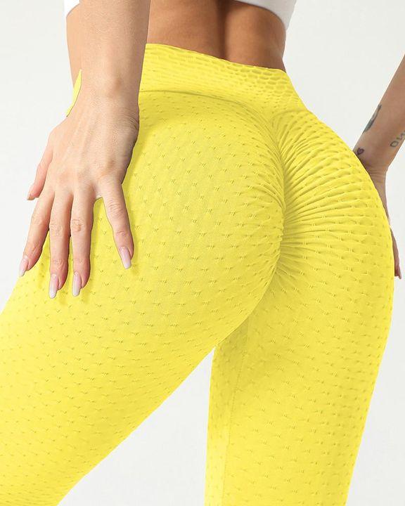 Solid Textured Scrunch Butt Absorbs Sweat Hip Lift Sports Leggings gallery 4