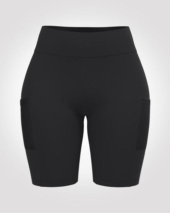 Solid Seamless High Waist Pocket Decor Sports Shorts  gallery 3