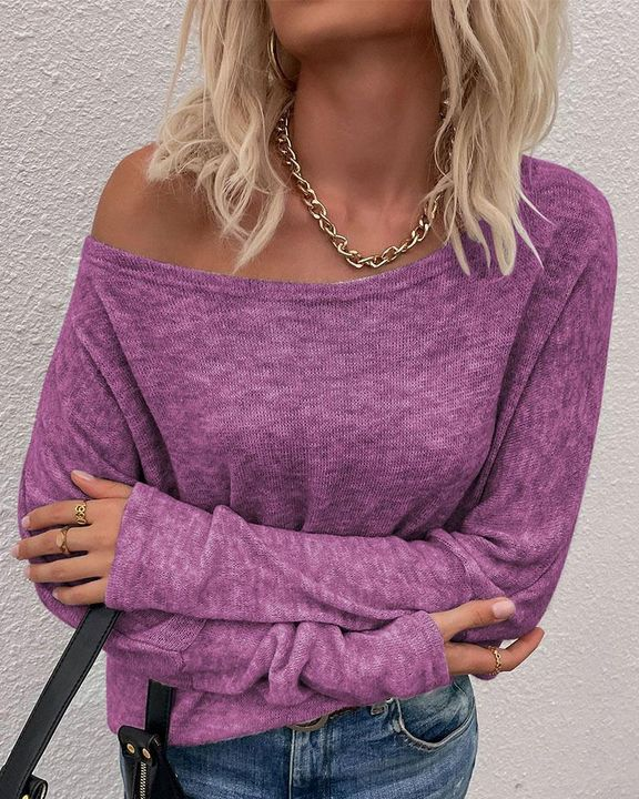 Solid Long Sleeve Boat Neck Top gallery 6