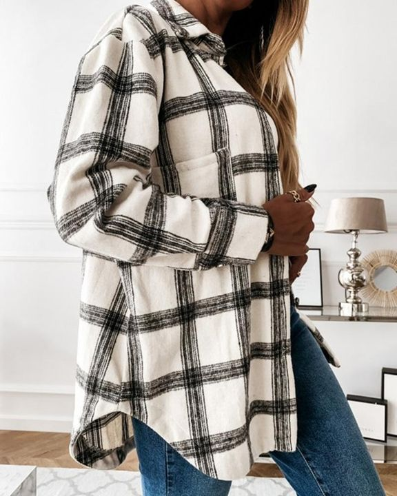 Plaid Print Patch Pocket Button Up Jacket gallery 5
