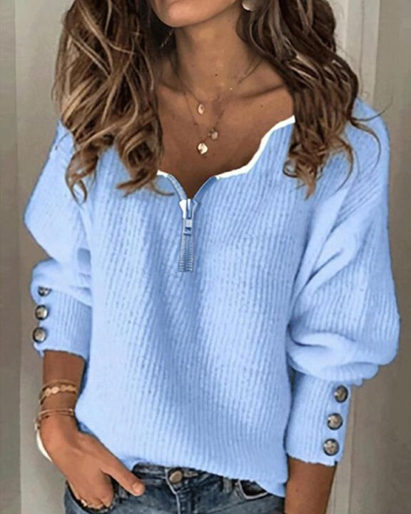 Half-Zip Ribbed Knit Button Decor Sweater  gallery 1