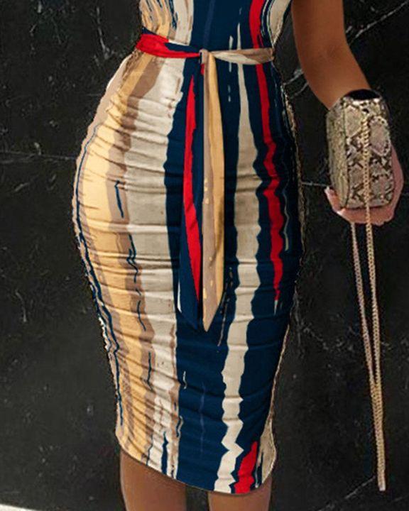 Tie Dye Belted One Shoulder Midi Dress gallery 3