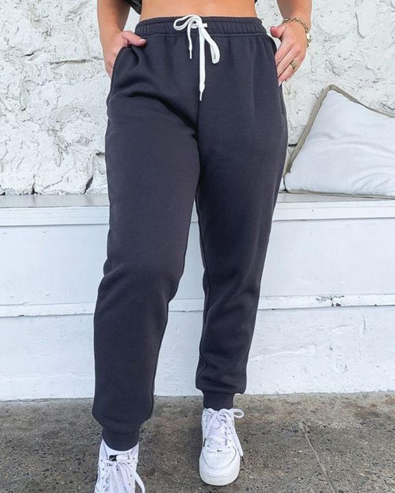 Drawstring Waist Thermal Lined High Waist Joggers gallery 1